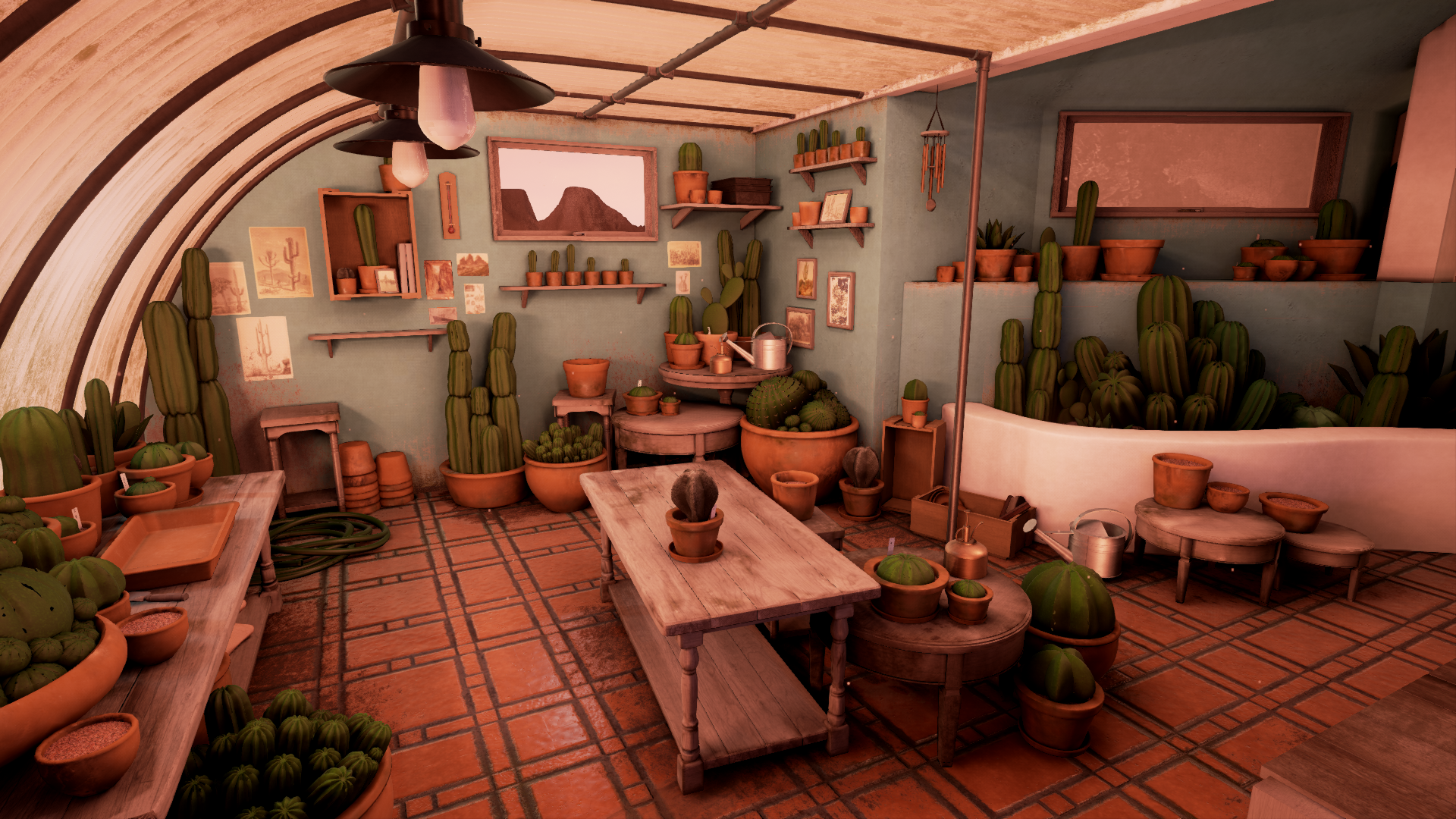 Cactus Greenhouse Thesis WIP -Rendered in realtime in Unreal4 -2016/2017 - Responsible for everything