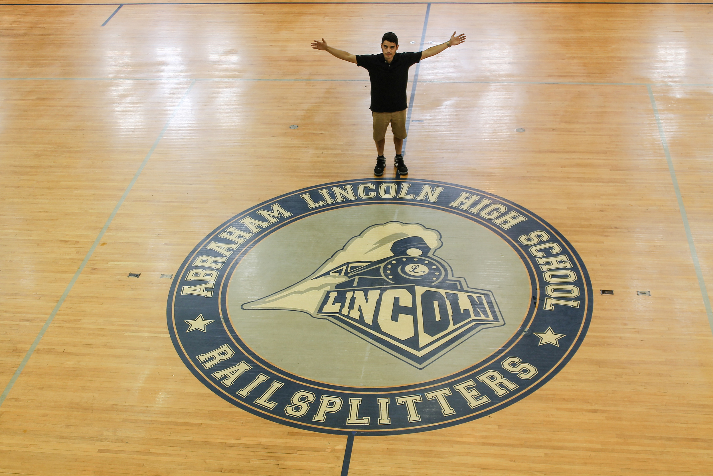 Me at center court @ Abraham Lincoln High School