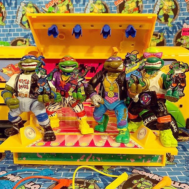 The band is back together! Our TMNT Rock N Roll Heroes are back in stock and looking for new places to perform! Tap to shop your favorite rock turtle! 🤟🏼🎸⚡️ [📸 by @2ndtimearoundtoysandcomics]