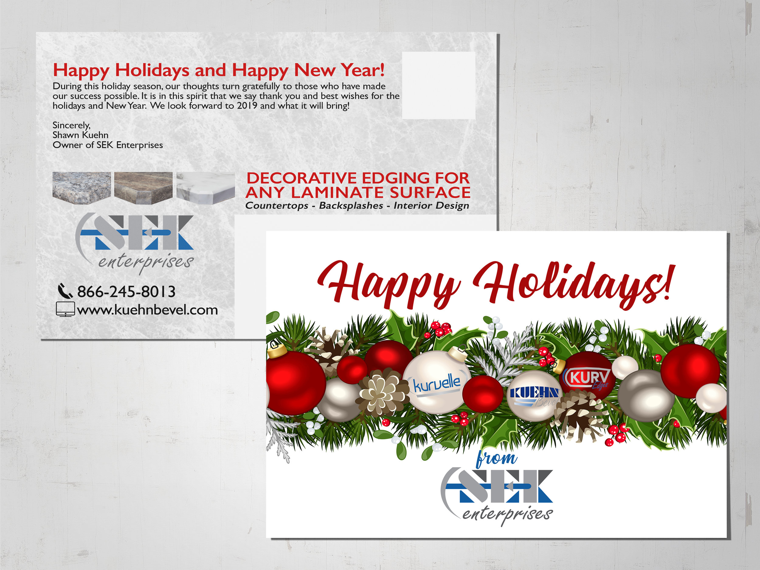 A holiday themed direct mail piece I designed for a laminate countertop edge manufacturer.
