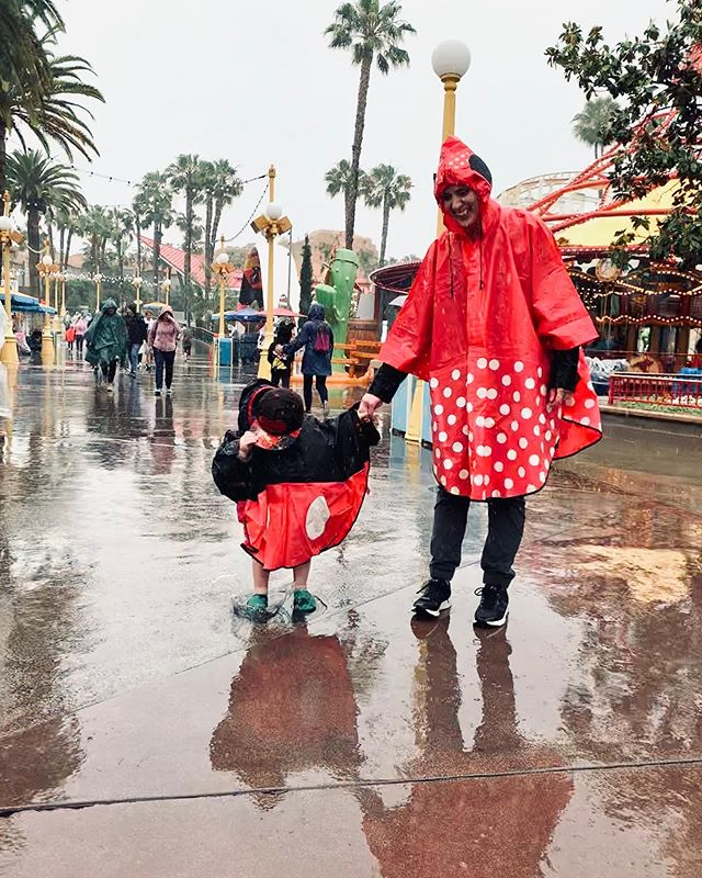 It's the first time that I can remember going to Disneyland in the rain. Mark couldn't be happier. He had to stop and jump in every puddle.
