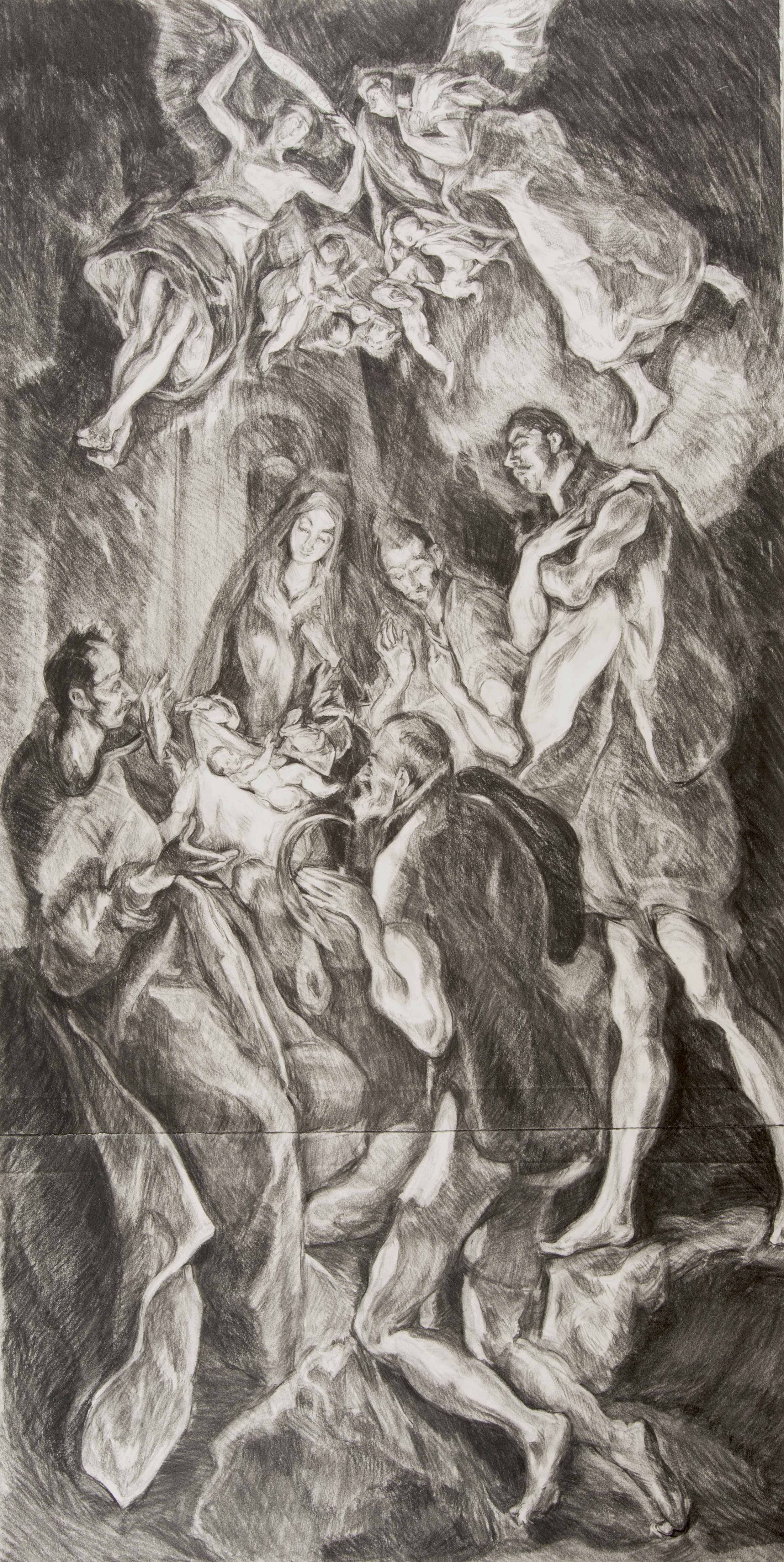 After El Greco 'The Adoration of the Shepherds' (1614)  charcoal drawing on paper