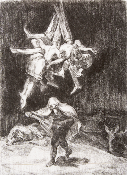 After Goya 'Withches Flight' (1798)  charcoal drawing on paper
