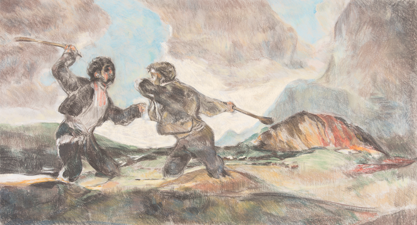 After Goya 'Fight to the Death with Two Clubs' (1820-23)   charcoal and pastel drawing on paper