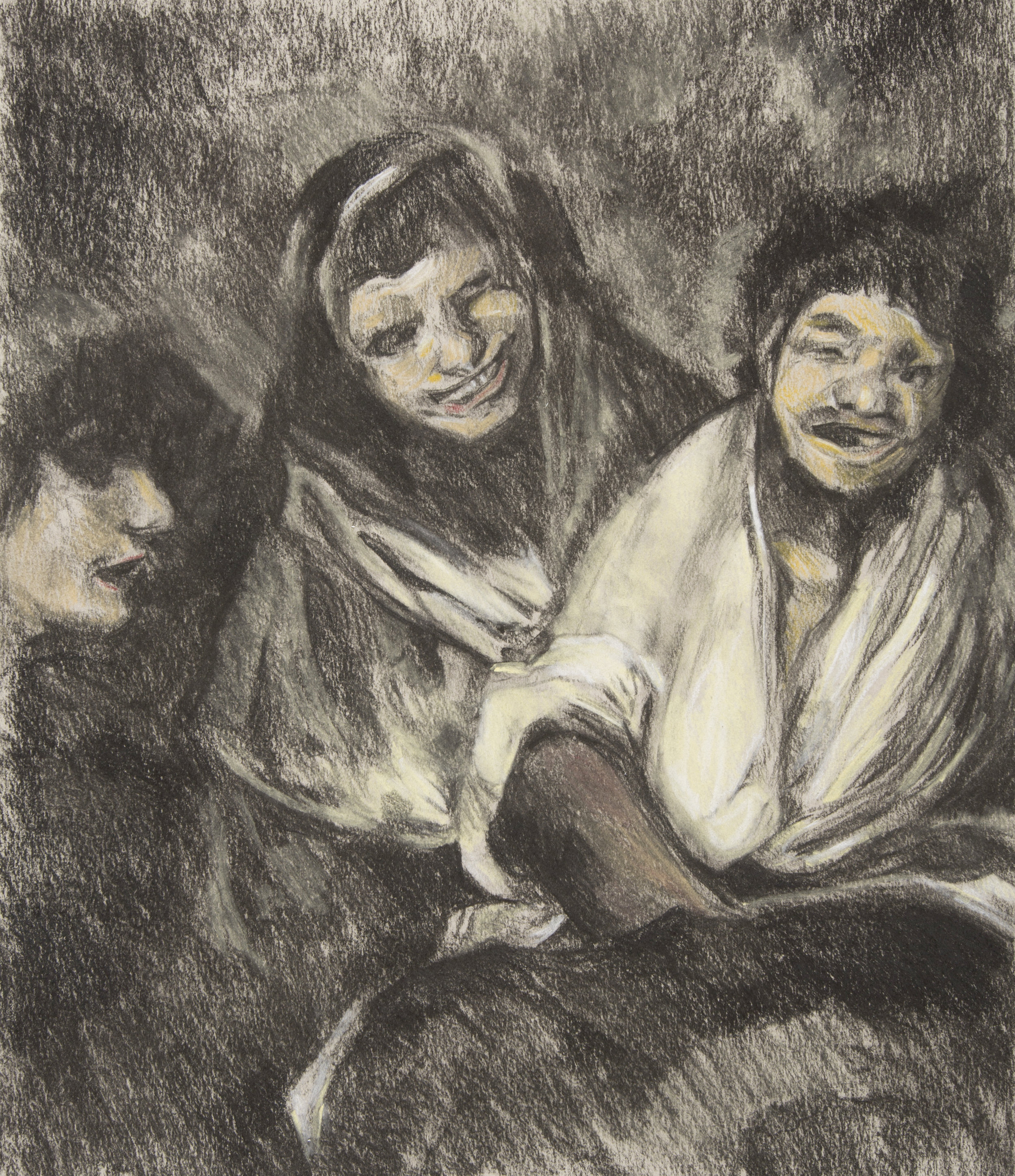 After Goya 'Two Women and a Man' (1820-23)  charcoal and pastel drawing on paper