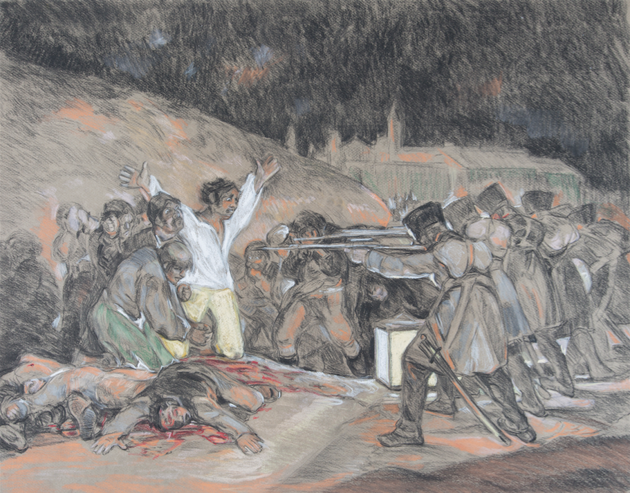 After Goya 'The Third of May 1808' (1814)  charcoal and pastel drawing on paper