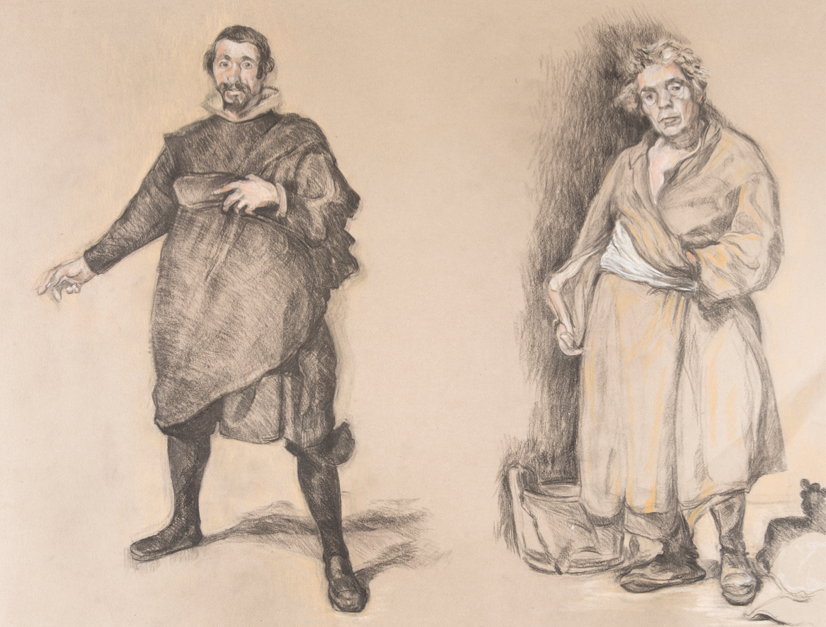 After Valezquez 'Pablo De Valliadolid' (1632) and 'Aesop' (1640)  charcoal and pastel drawing on paper
