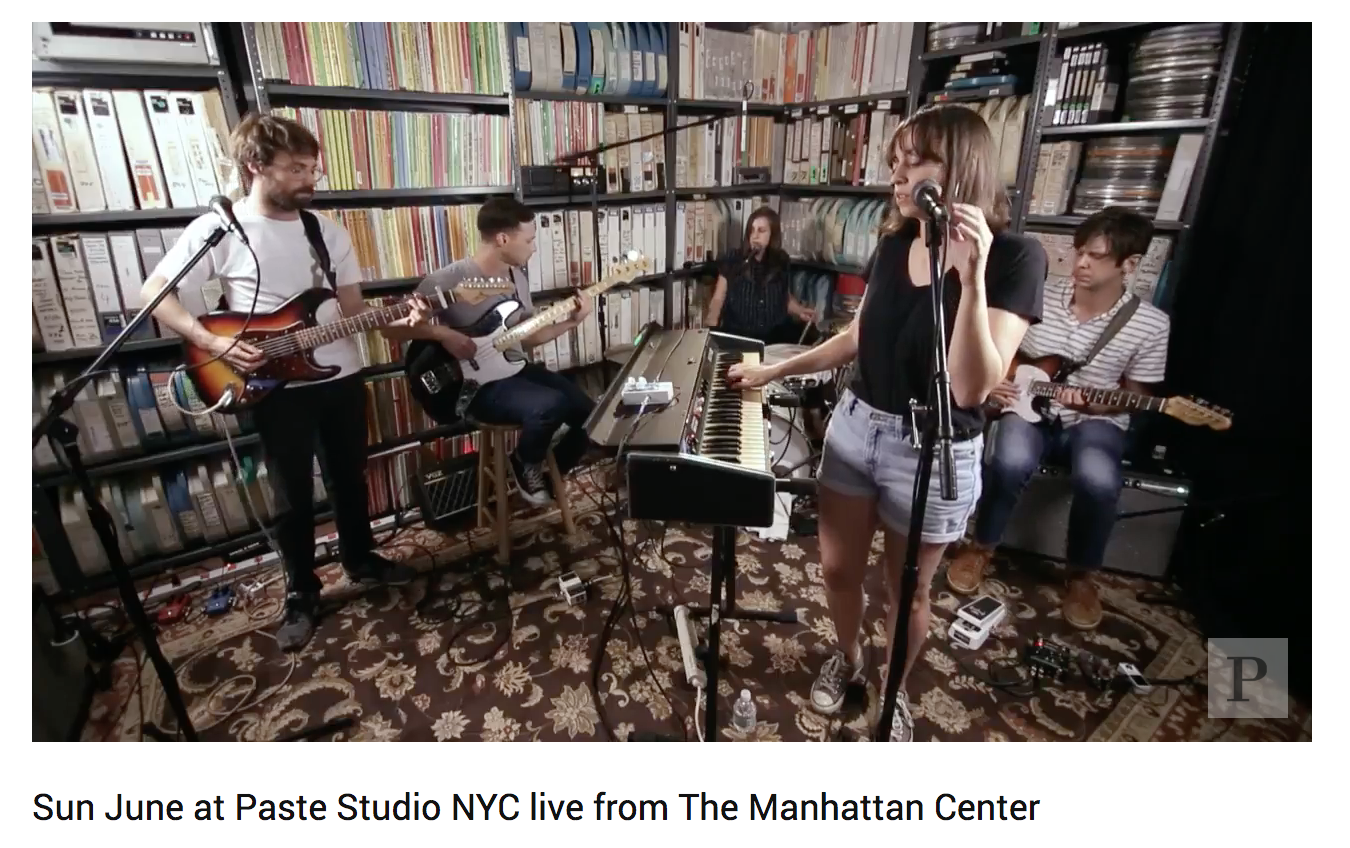 Sun June live at Paste Magazine - July 23, 2018Did you see Sun June live via Paste Magazine on Friday? You can stream the entire session here.The band has a few more shows on their East Coast tour:07.24 Richmond, VA @ Gallery 5 (fb)07.25 Charleston, SC @ Tin Roof (fb)07.26 Orlando, FL @ Henoa Center (fb)07.27 Gainesville, FL @ Limin Room (fb)07.28 Panama City, FL @ Mosey's (fb)