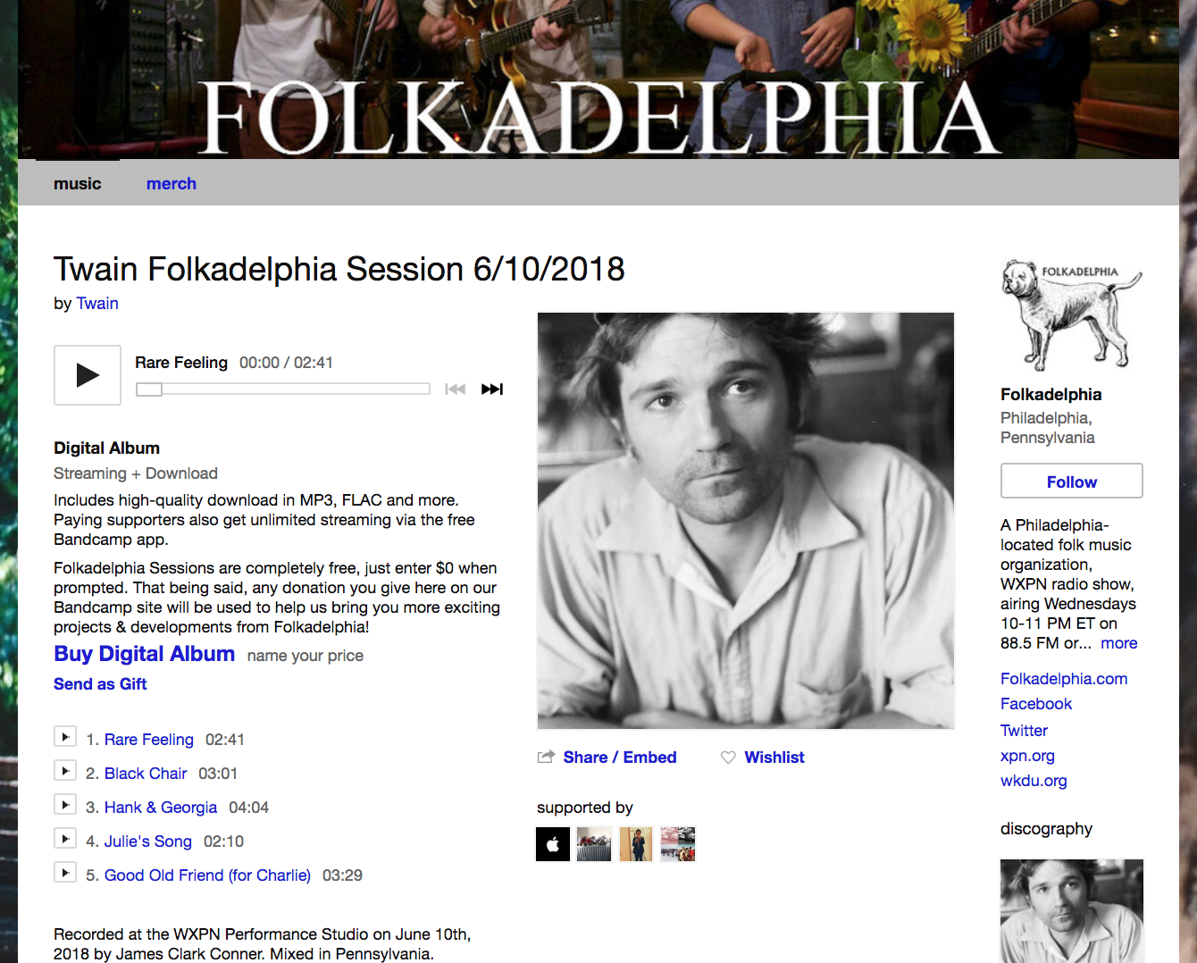 Twain Folkadelphia session is now up! - This summer Mat Davidson recorded a solo Twain session at the WXPN studios in Philadelphia for Folkadelphia. The session aired live this week and is archived on their website & Bandcamp. Head here to listen to rousing renditions of four songs from last year's Rare Feeling, as well as a new song not available to stream anywhere else.