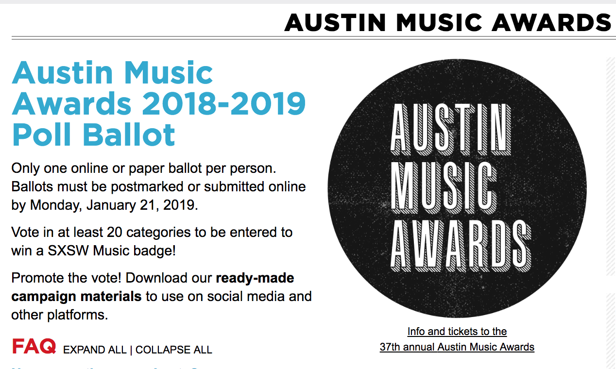 Vote for us as Best Local Label - We've made it to the final round of voting in the Austin Chronicle's Austin Music Awards. Please vote for us if you feel so inclined. Definitely looking forward to awkwardly milling around for the second year in a row. Although the taco bar last year was very nice.Head here and vote for all of our friends in the other categories (Little Mazarn, Thor & Friends, Molly Burch, KUTX, End of an Ear, Rock N Roll Rentals, Laurie Gallardo, and more! Vote with your heart).