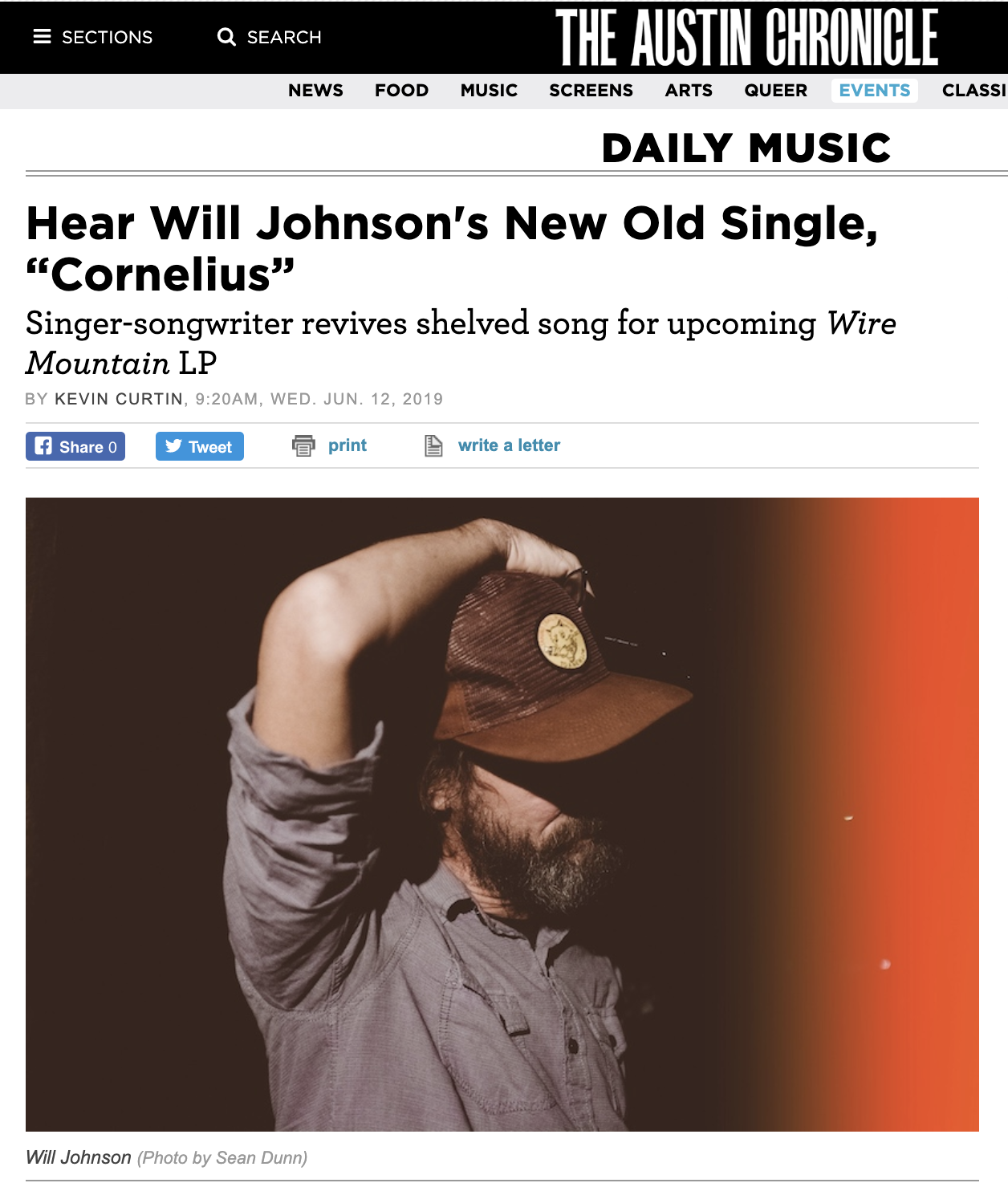 "Austin Chronicle premieres first track, ""Cornelius,"" from Will Johnson's new album Wire Mountain - June 12, 2019""Will Johnson's got no problem shelving a great song. To him, ""the ride"" of a record is so paramount that outliers – even if they're superb – are sent to purgatory. Such had been the case with ""Cornelius.""""That damn song,"" he says. ""I thought it was gonna go by the wayside. It'd been hanging around for about 10 years and I could never find the right collection of songs to tuck it into. It finally found a home.""At last, the pounding and melodic four-and-a-half minute track slots into Wire Mountain, his newly announced seventh solo LP arriving Sept. 27 on Keeled Scales.The stains of small-town life – loneliness, nosiness, and dysfunction – factor heavily into ""Cornelius."" It's, in fact, a remnant of time Johnson spent in Bastrop, which inspired the characters and settings in the song. The singer, painter, and multi-instrumentalist contends the lyrics aren't autobiographical at all, but there are coincidences.""There's the line: 'Tell them all about the tricks you pulled/ Seven years in Luling dodging truth,' which is what I was doing… but in Bastrop,"" he chuckles.The track, reimagined from an old demo, thrives with a primal rack and floor-tom beat from fellow cult favorite Thor Harris and an inspired unison vocal from Little Mazarn's Lindsey Verrill. Another Austinite, veteran underground hero Jon Dee Graham, contributes some lap steel and slide guitar alchemy to the mix.""To have all their personalities and fingerprints on that song means so much to me,"" enthuses Johnson, who remembers waking up a year and a half ago just knowing that he wanted Harris and Verrill to be heavily involved in his next record."""