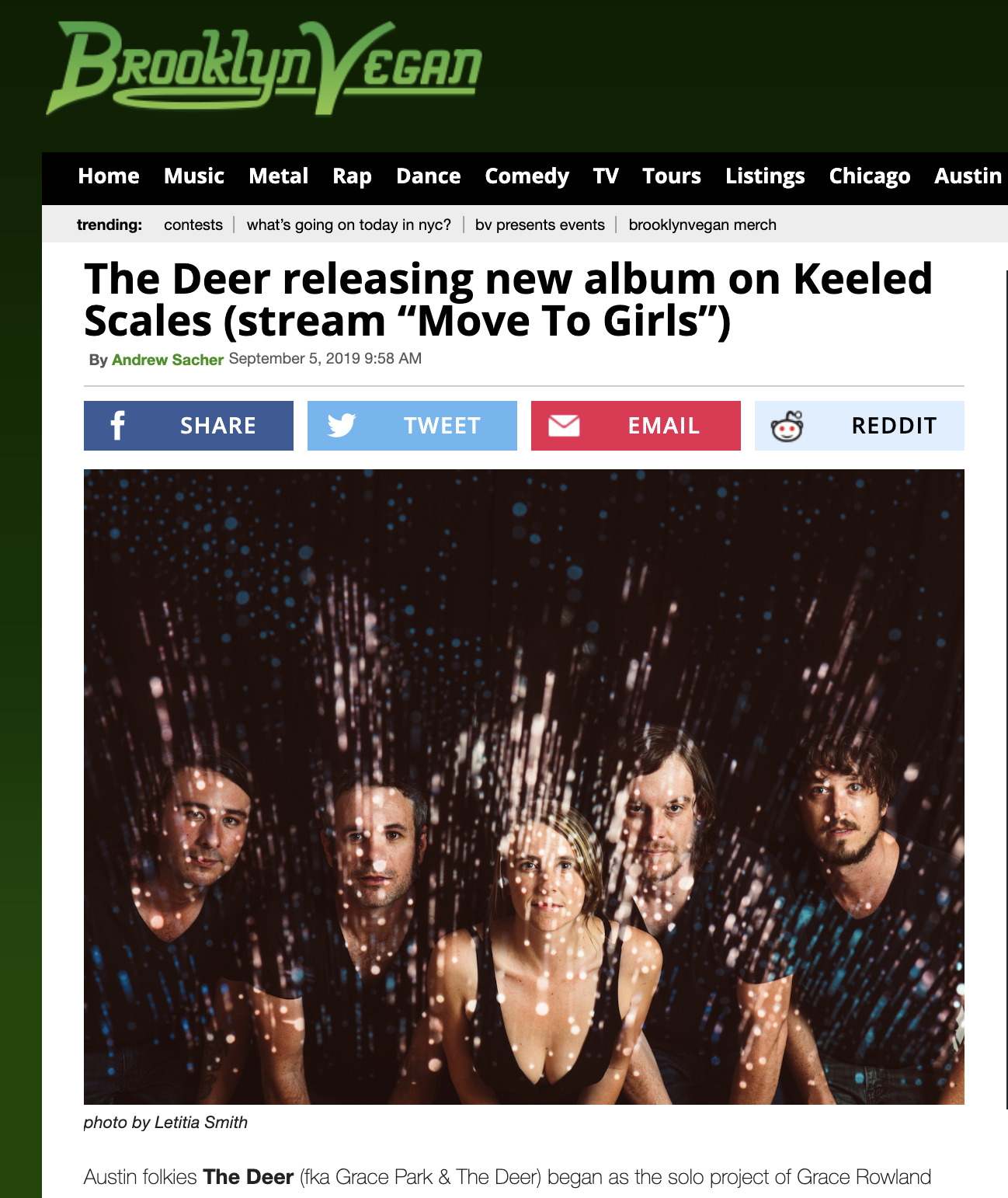 """The Deer premiere first single """"Move To Girls"""" from their new record coming Nov. 1st - BrooklyVegan has the premiere of """"Move To Girls,"""" the first single from Do No Harm coming November 1, 2019. They describe it as """"a lovely folk song with an atmospheric edge that should appeal to fans of other artists in or around the Keeled Scales family (like Big Thief).""""Grace says:Tour six months out of the year and tell me you don't re-evaluate your whole life every time you leave. My well-worn route to love and companionship had always represented only a small part of my orientation, and this song is about the changes that came about when I was able to confront it. I had been laying it out track by track for so long, but my path was full of divots and plateaus, curves and runways; it needed bridges in some places, step stones in others.Preorder link is (here)Tour dates:October 18   Austin, TX @ Antone'sOctober 29   Ashland, OR @ BrickroomOctober 31   Eugene, OR @ Wildcraft Cider WorksNovember 1   Portland, OR @ The Old ChurchNovember 2   Seattle, WA @ Conor BryneNovember 5   Mystic, UT @ Mystic Hot SpringsNovember 7   Denver, CO @ The Lost LakeNovember 8   Gold Hill, CO @ Gold Hill InnNovember 9   Carbondale, CO @ Steve's Guitars"""