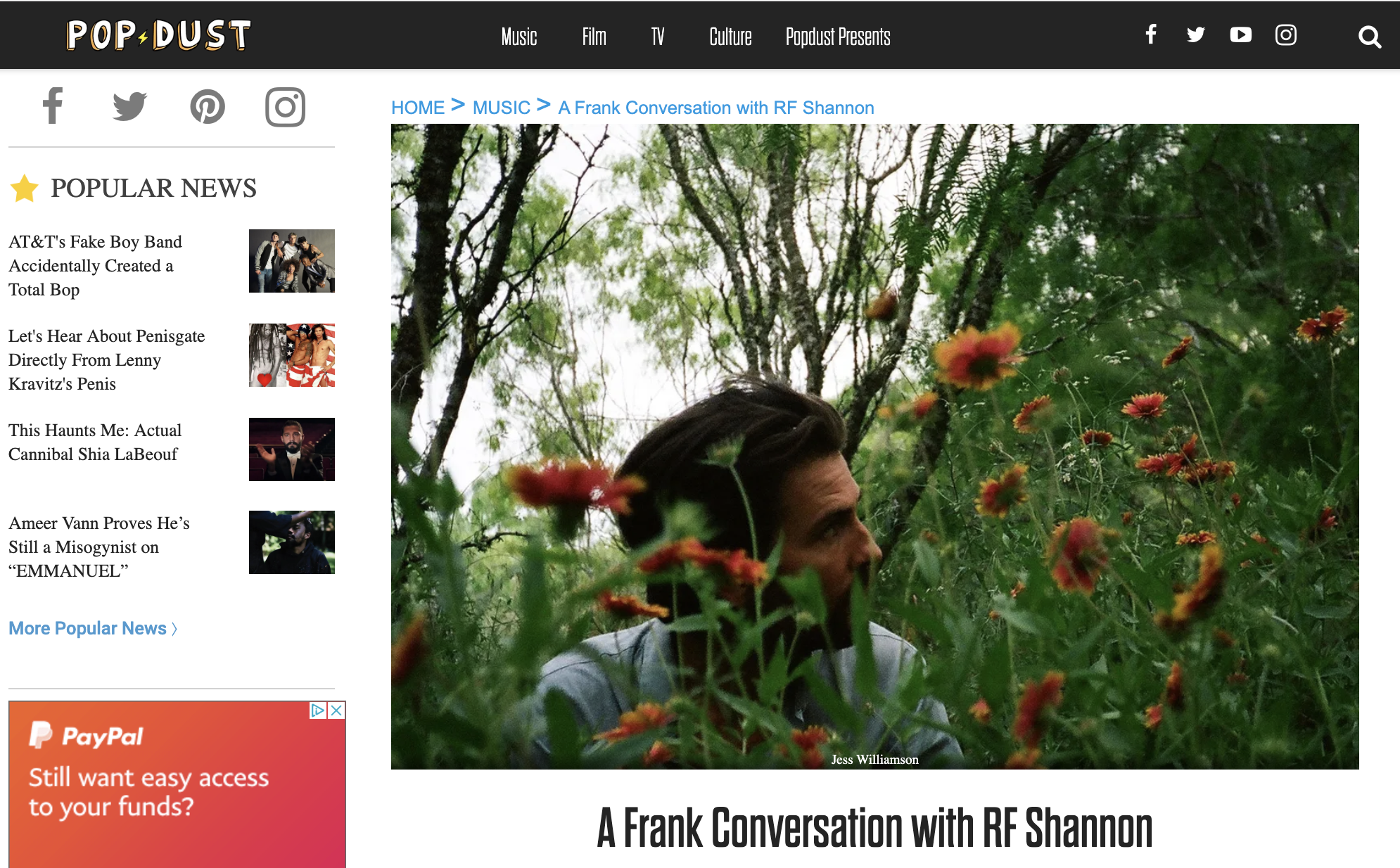 Pop Dust Interview withRF Shannon - Sept. 19, 2019Pop Dust sat down with Shane Renfro of RF Shannon to talk money in the music industry, where the band name comes from, and the sense of place in their music. Give it a read here.photo by Jess Williamson