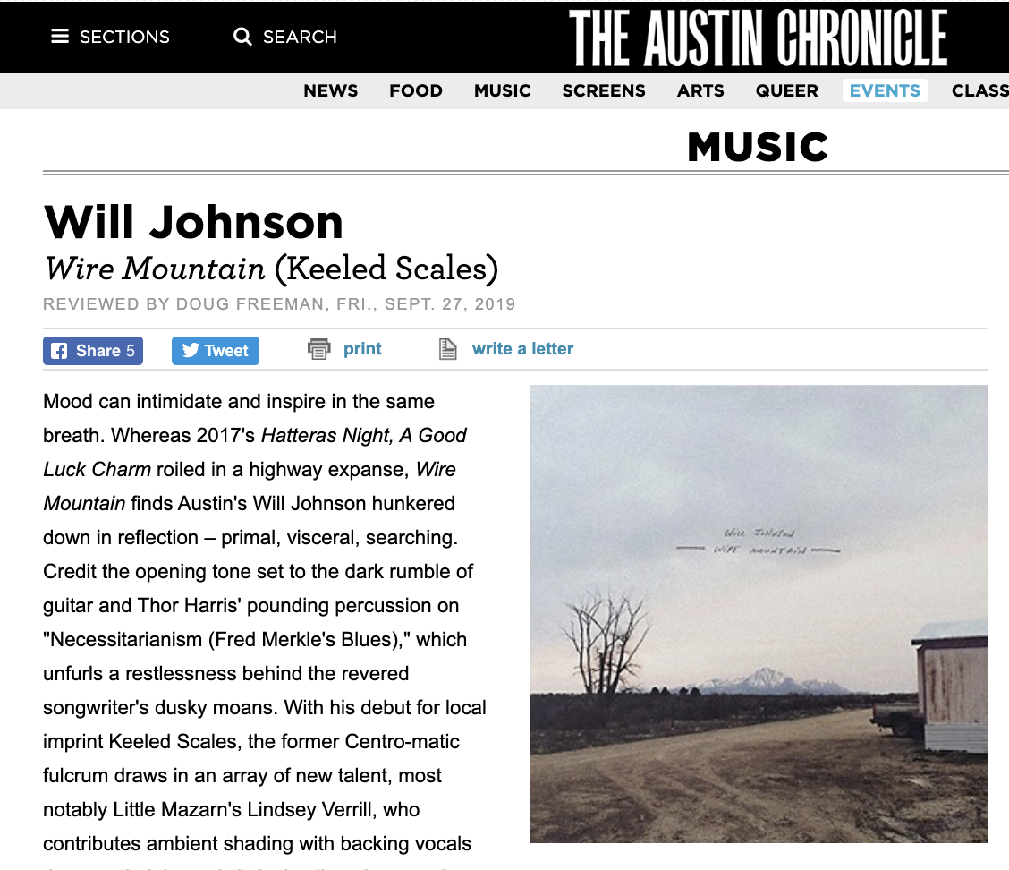 Will Johnson's new albumreviewed in Austin Chronicle - Sept. 26, 2019The Austin Chronicle wrote about Will Johnson's new album, describing it as: