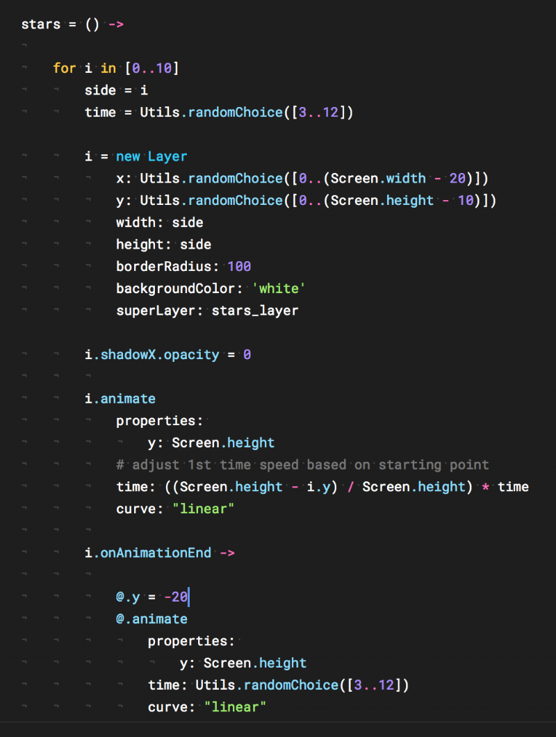 The code I used to generate the moving stars in the background.