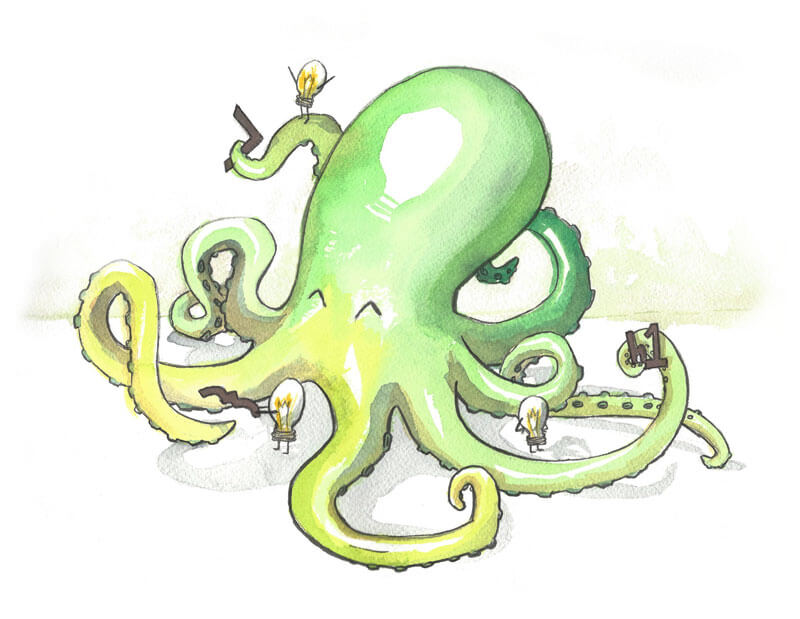 Cogo Octopus - Accompanied a Cogo Labs blog post about teams seamlessly collaborating on CSS code.