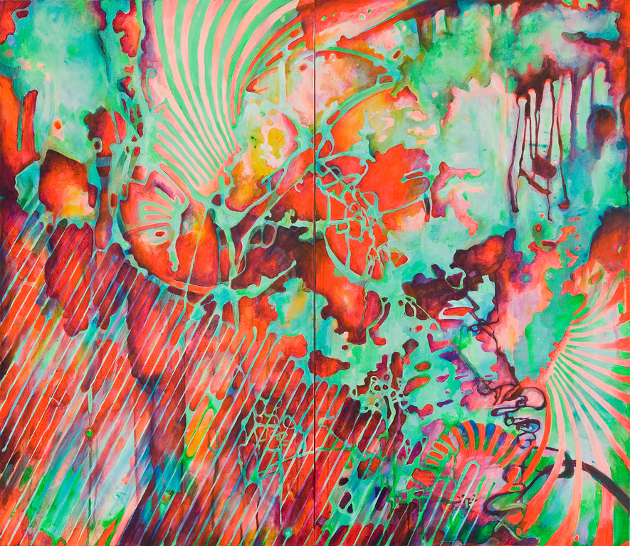 """Collide, Acrylic on Canvas, 47"""" by 54"""", 2010. SOLD"""