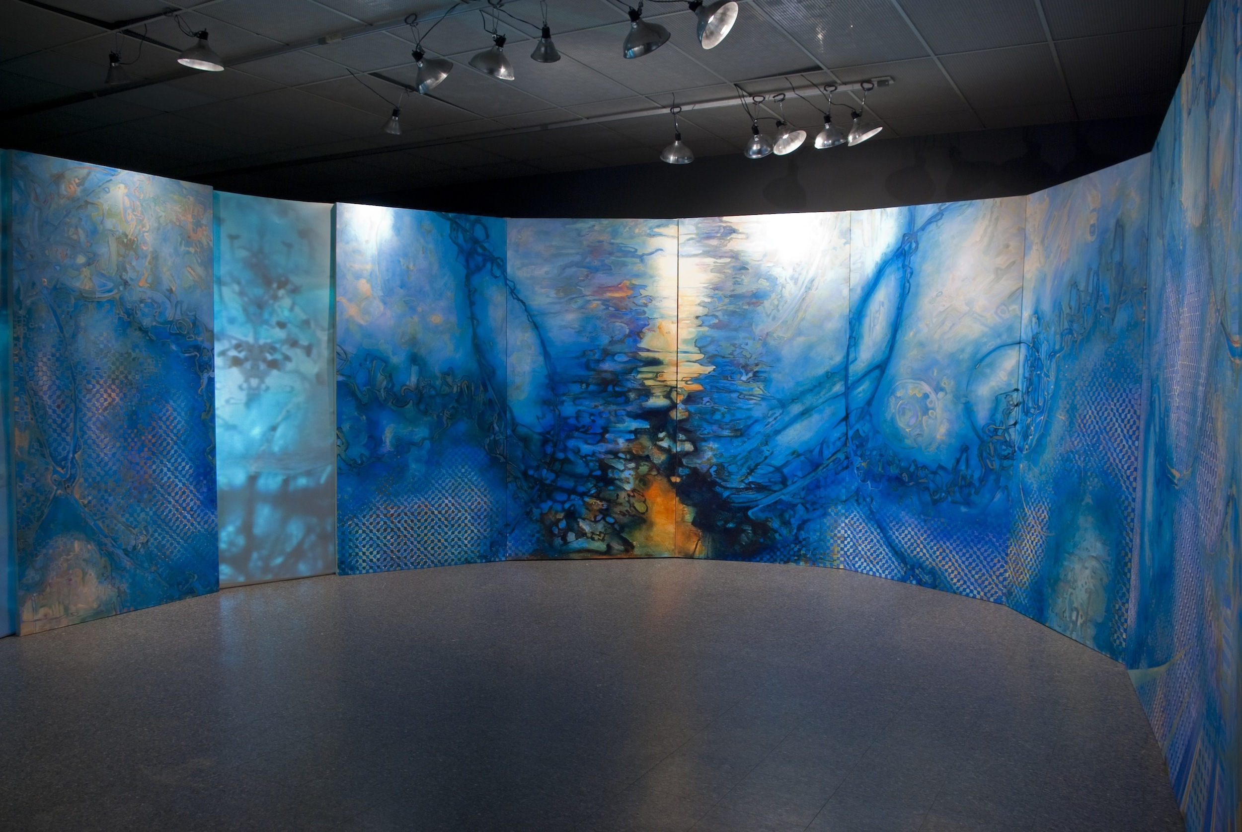 Tropos, Installation of Acrylic Painting on Canvas and Video, 8' by 48', 2011