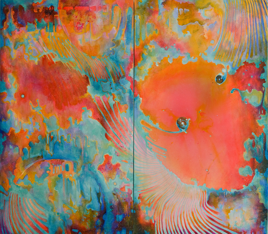 "Kyma 3, Acrylic on Canvas 47"" by 54"", 2009. SOLD"