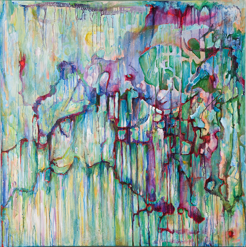 Mahler - Das Trinklied vom Jammer der Erde (The Drinking Song of Earth's Misery), Acrylic on Canvas, 48 by 48', 2007. SOLD
