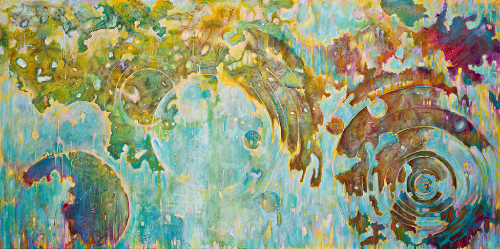 "Metamorphosen, Acrylic on Canvas, 48 by 96"", 2009. SOLD"