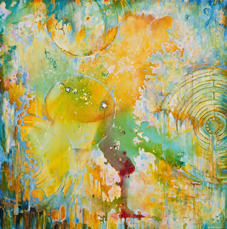 "Unsilent Night - Damage Eye, Acrylic on Canvas, 48 by 48"", 2008. SOLD"