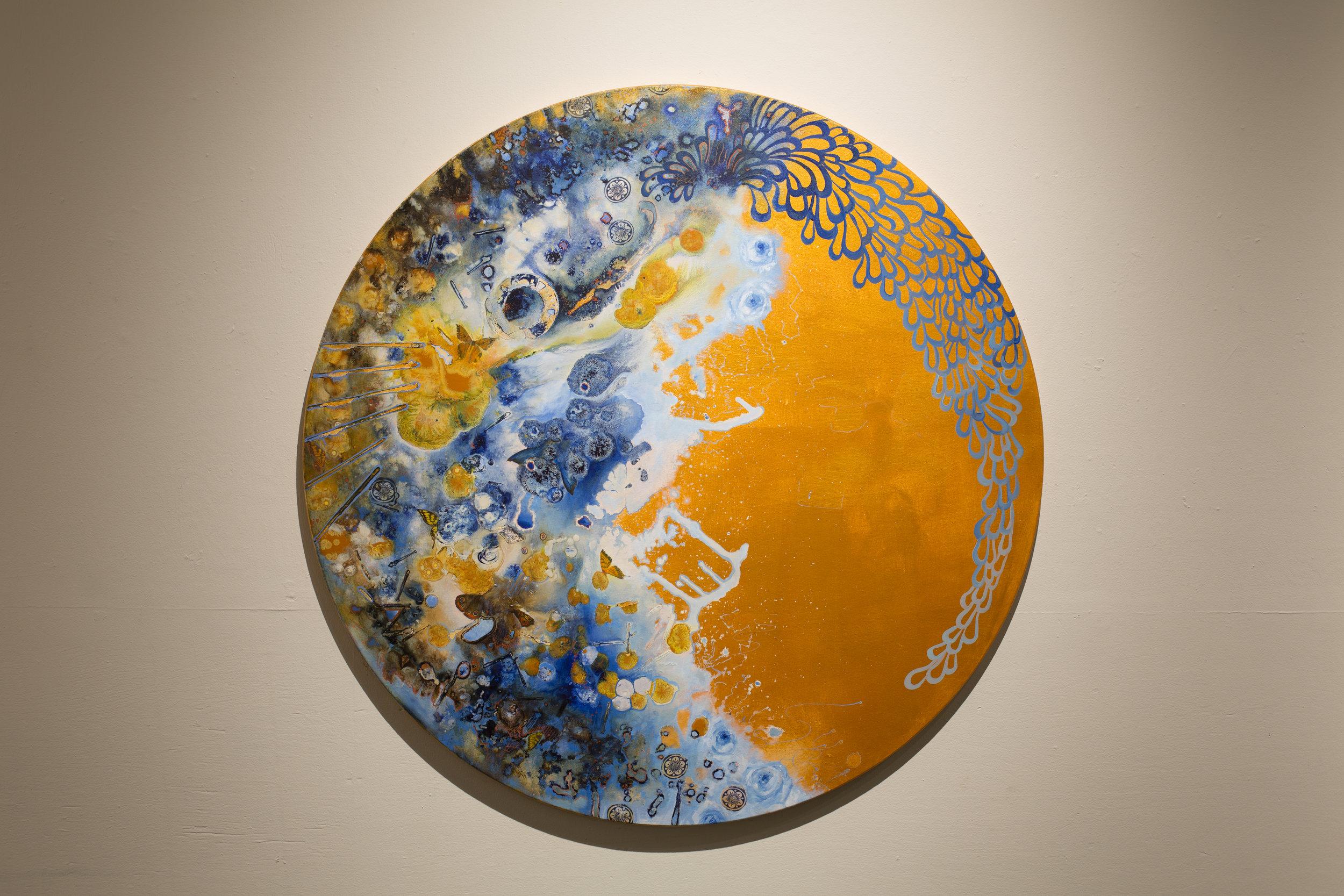 """Edith, Acrylic on Canvas, 47"""" Diameter, 2018. $3100.00"""