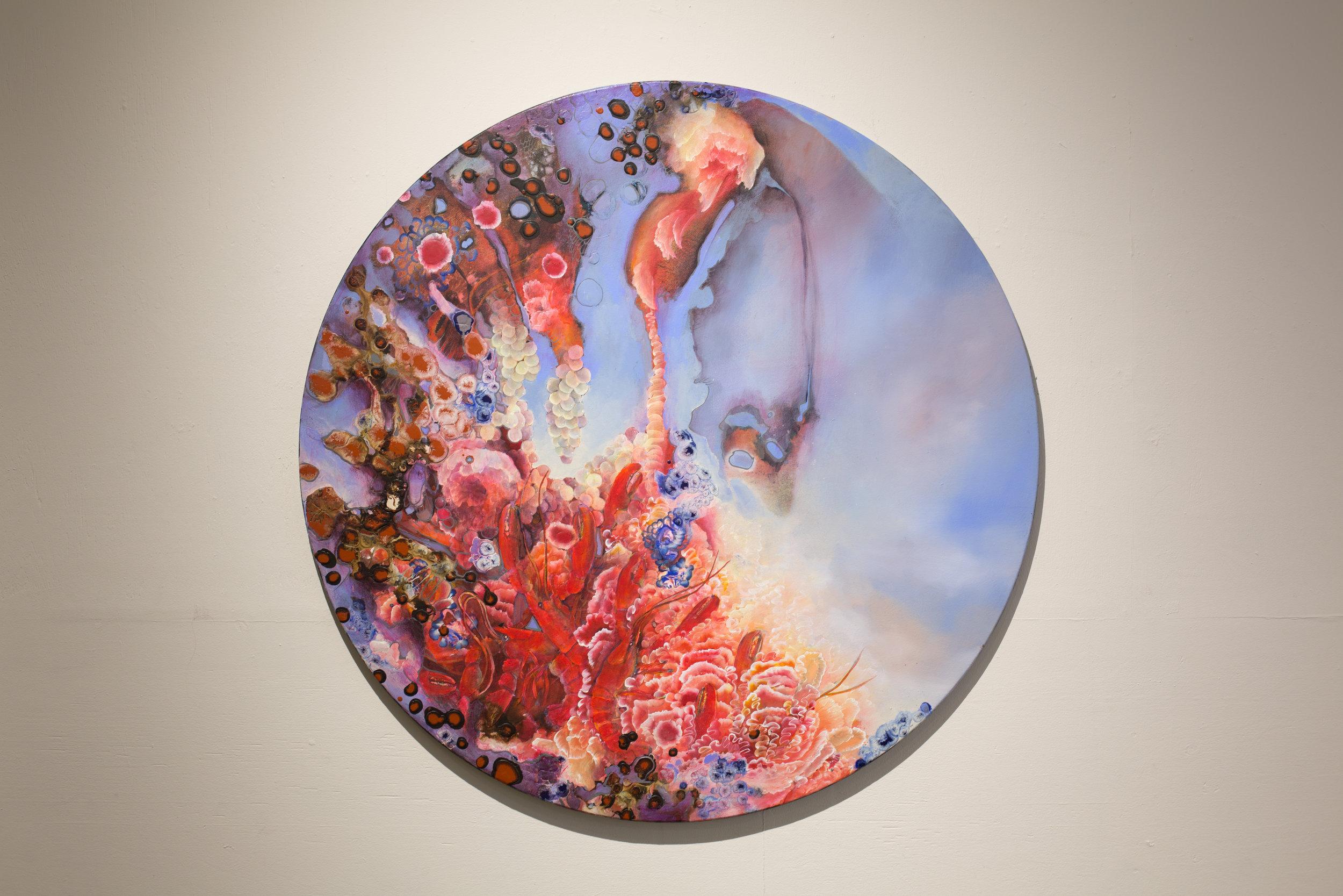 "Lobster, Acrylic on Canvas, 47"" Diameter, 2018. $3100.00"