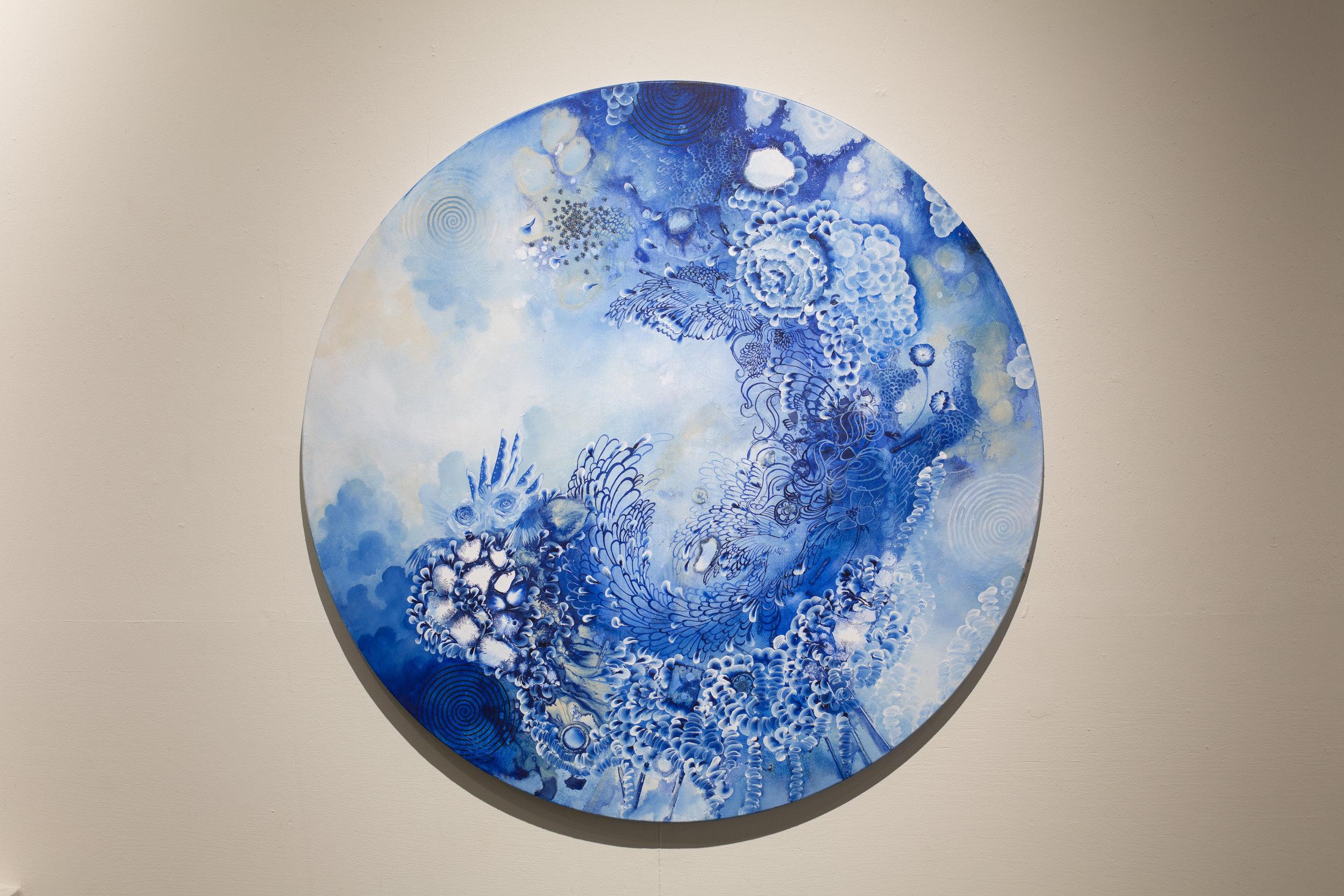 "Motion, Acrylic on Canvas, 47"" Diameter, 2018. $3100"