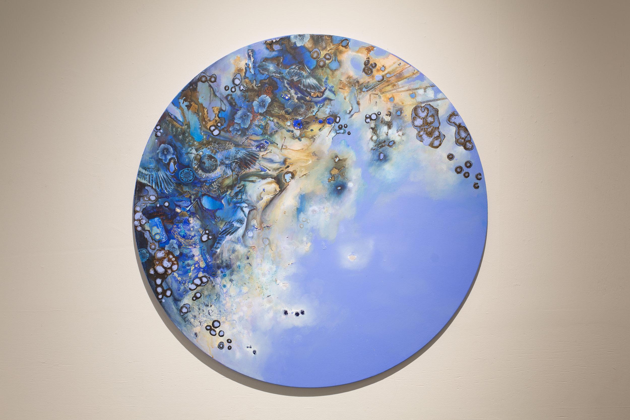 "Jay, Acrylic on Canvas, 47"" Diameter, 2018. SOLD"