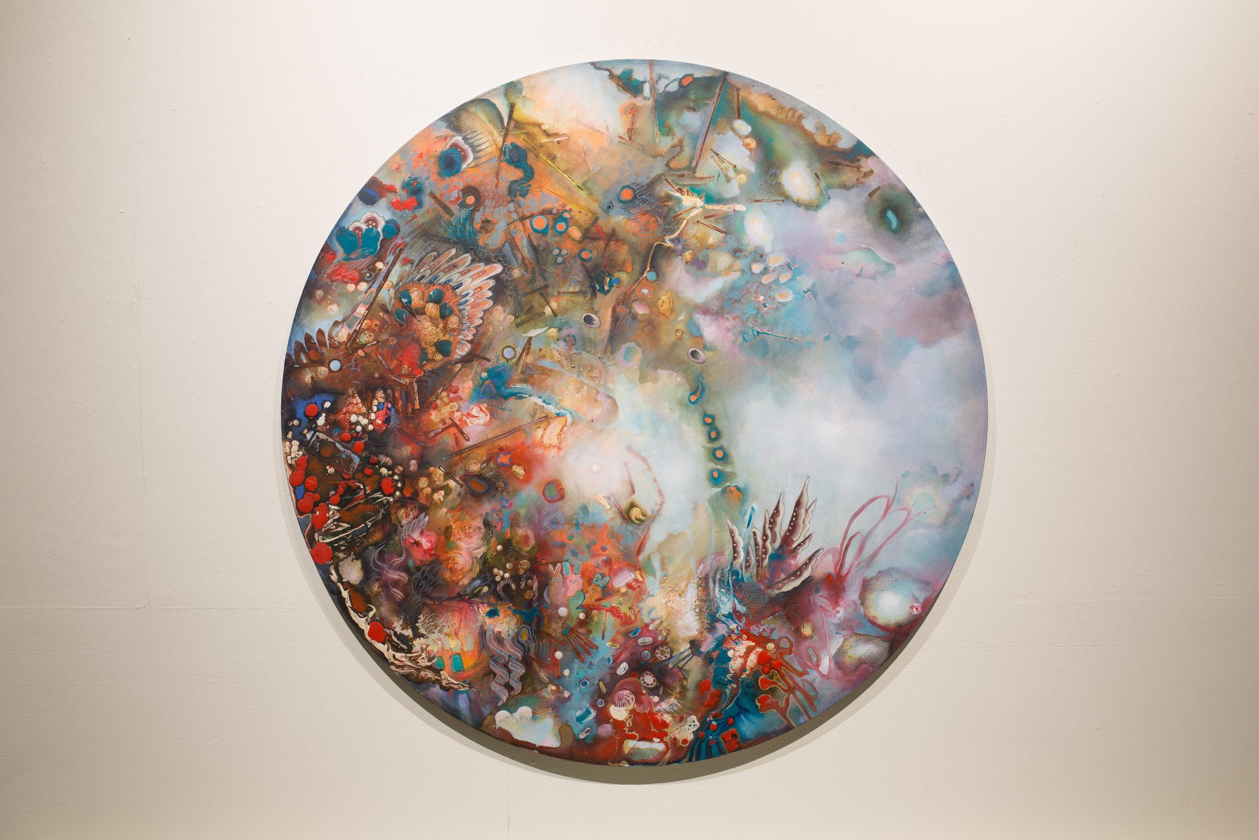"""Siren, Acrylic on Canvas, 47"""" Diameter, 2018, NFS"""