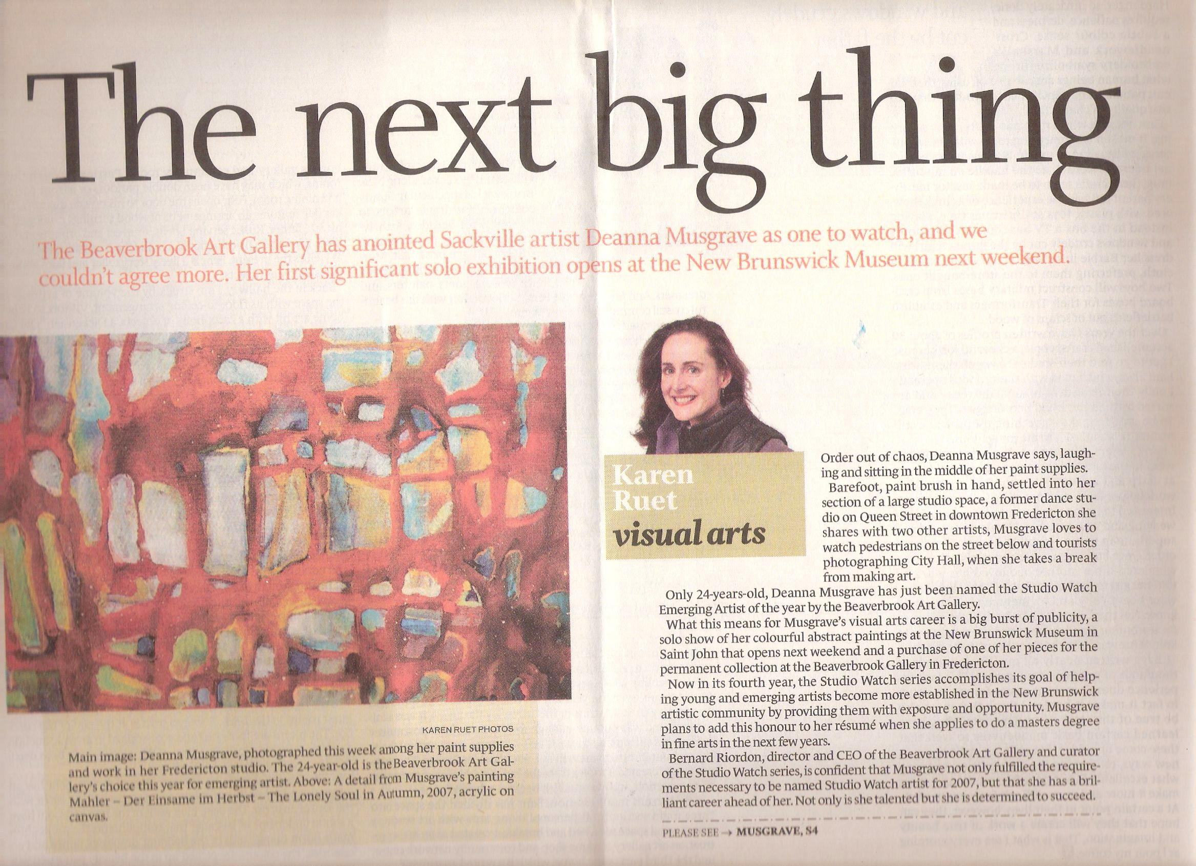 2007 - Karen Ruet - Telegraph Journal