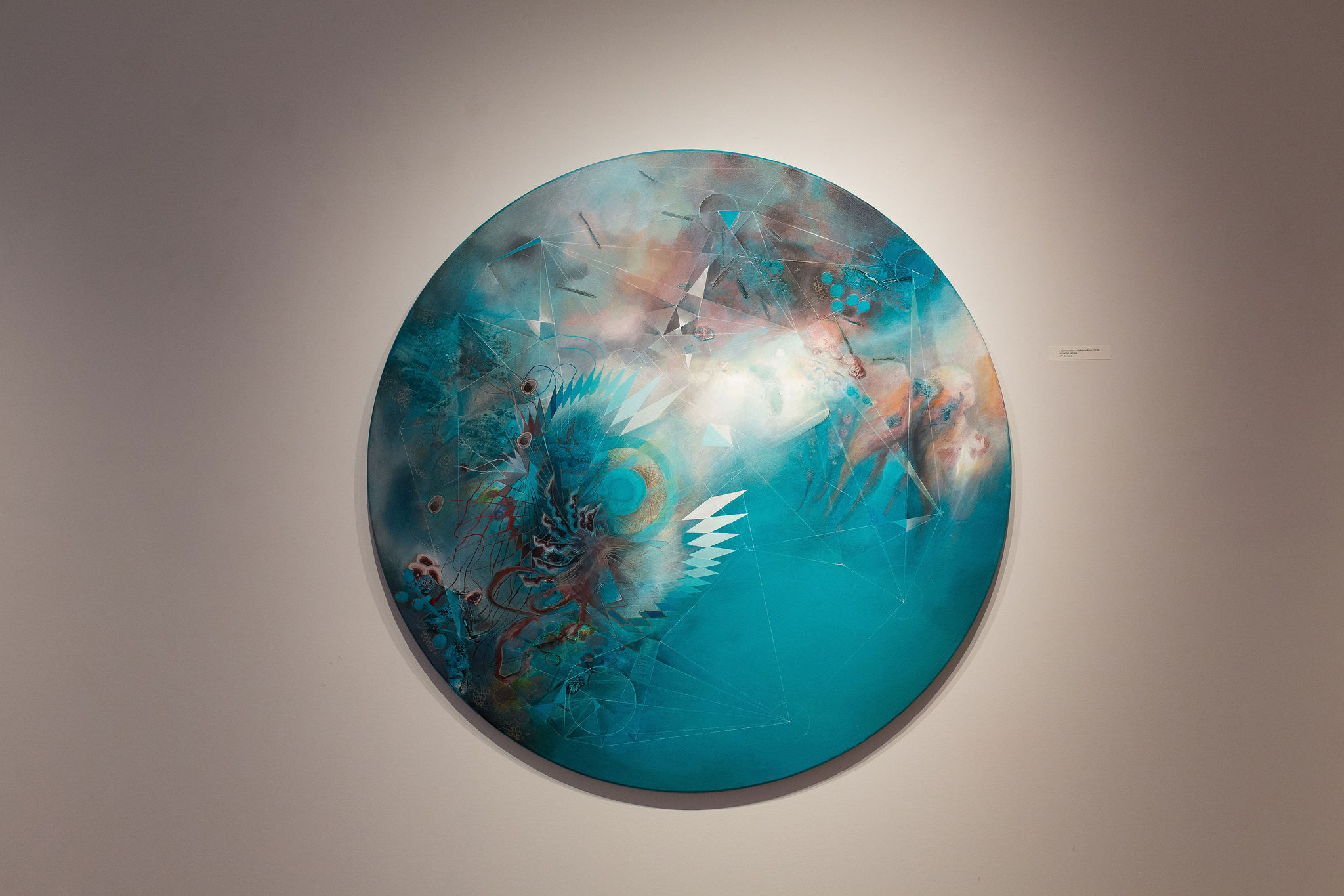 """A Conversation with Emma Kunz"", Acrylic on Canvas, 47"" Tondo, 2019"