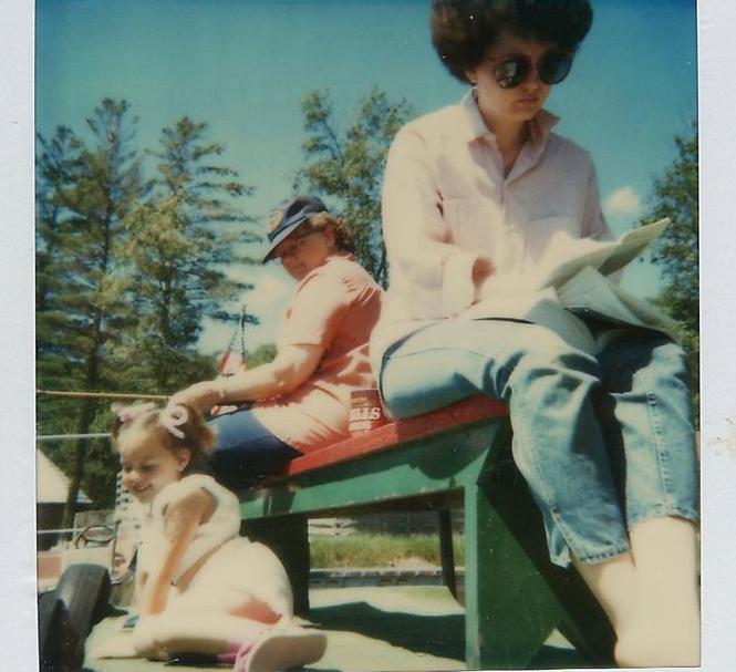 Mom, Grandma and me getting sun