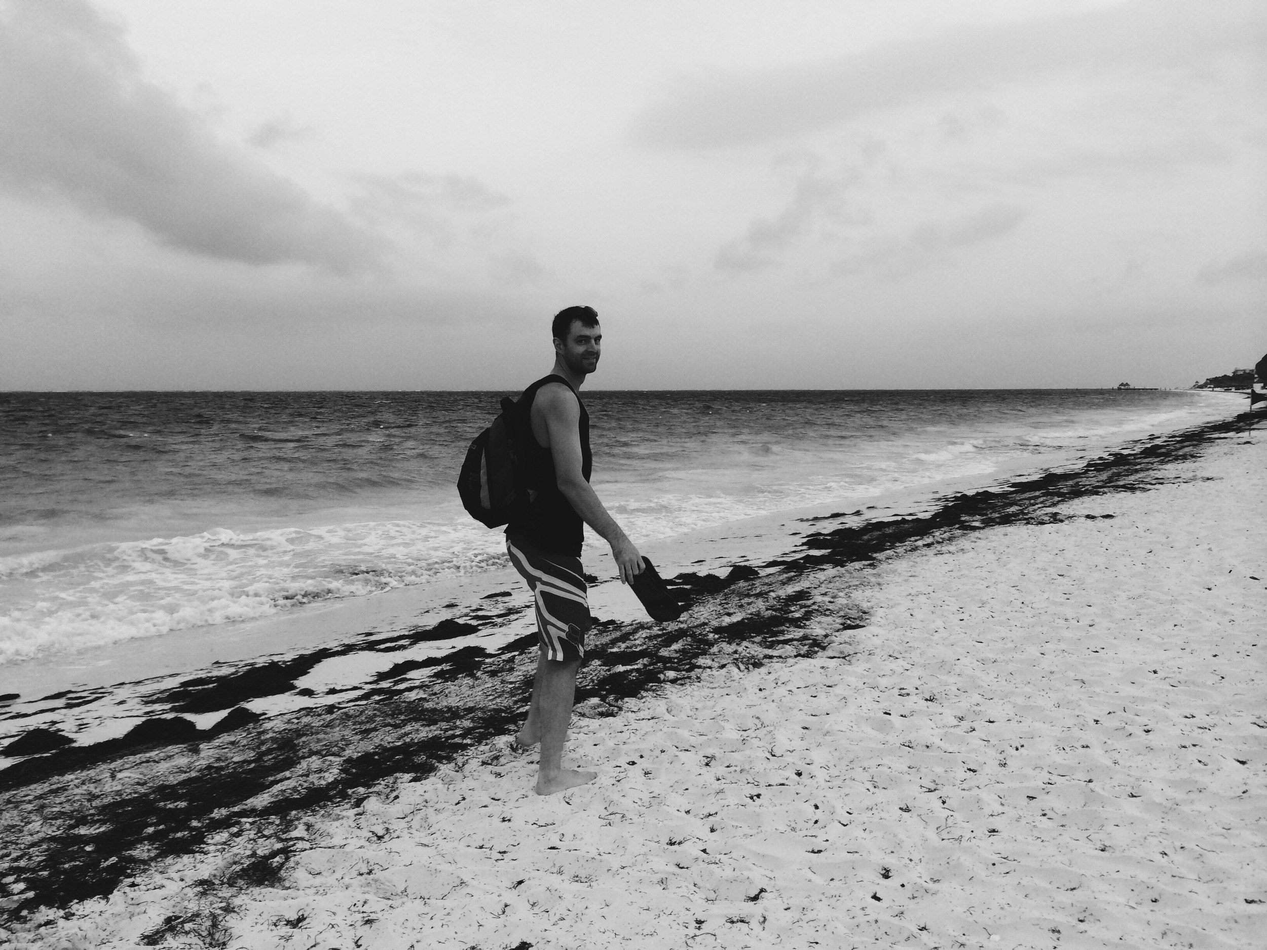 Walking the beach to Puerto Morelos from our resort