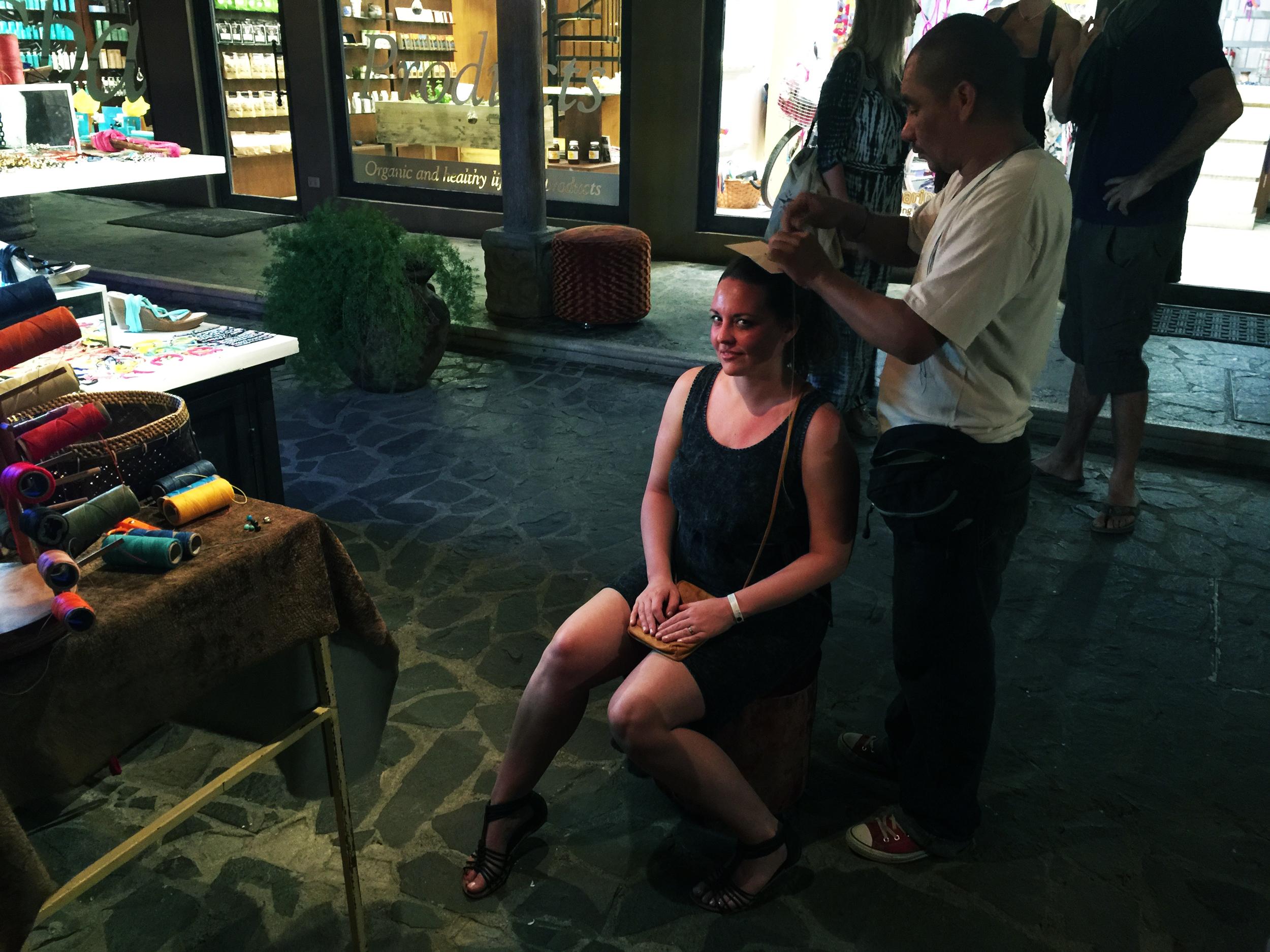 Getting a hair wrap!