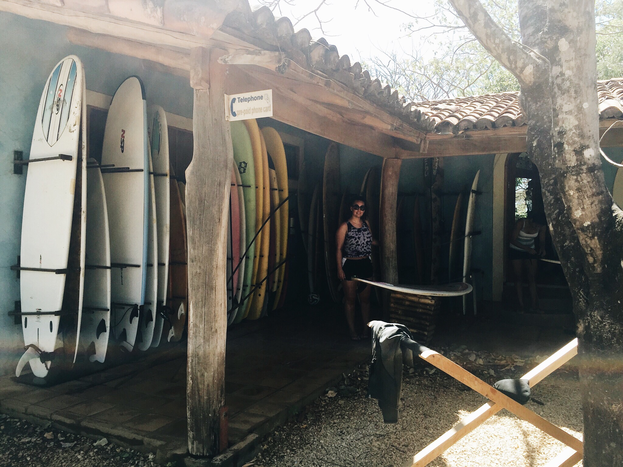 Surf shop on site at Hotel Playa Negra