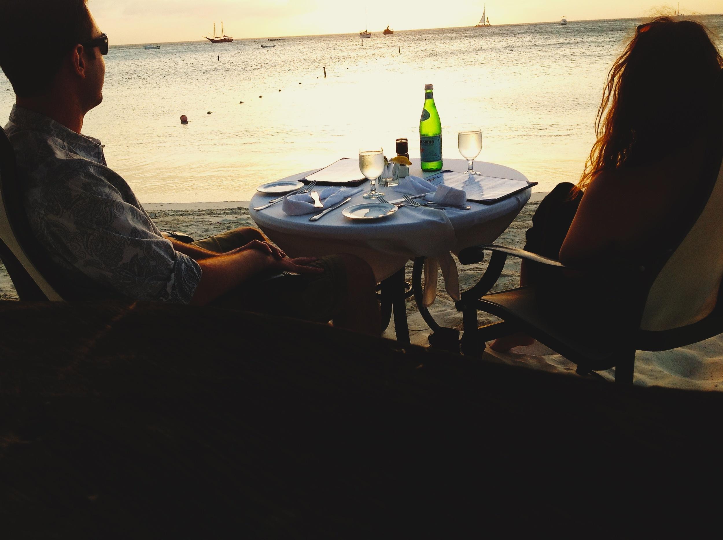 Sunset dinner and San Pellegrino on Palm Beach