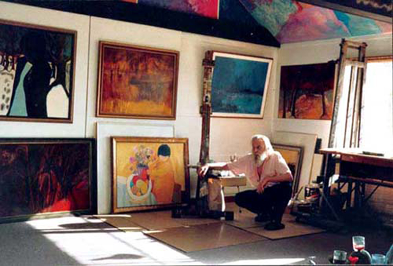 arnold burrell in his studio, 1988.