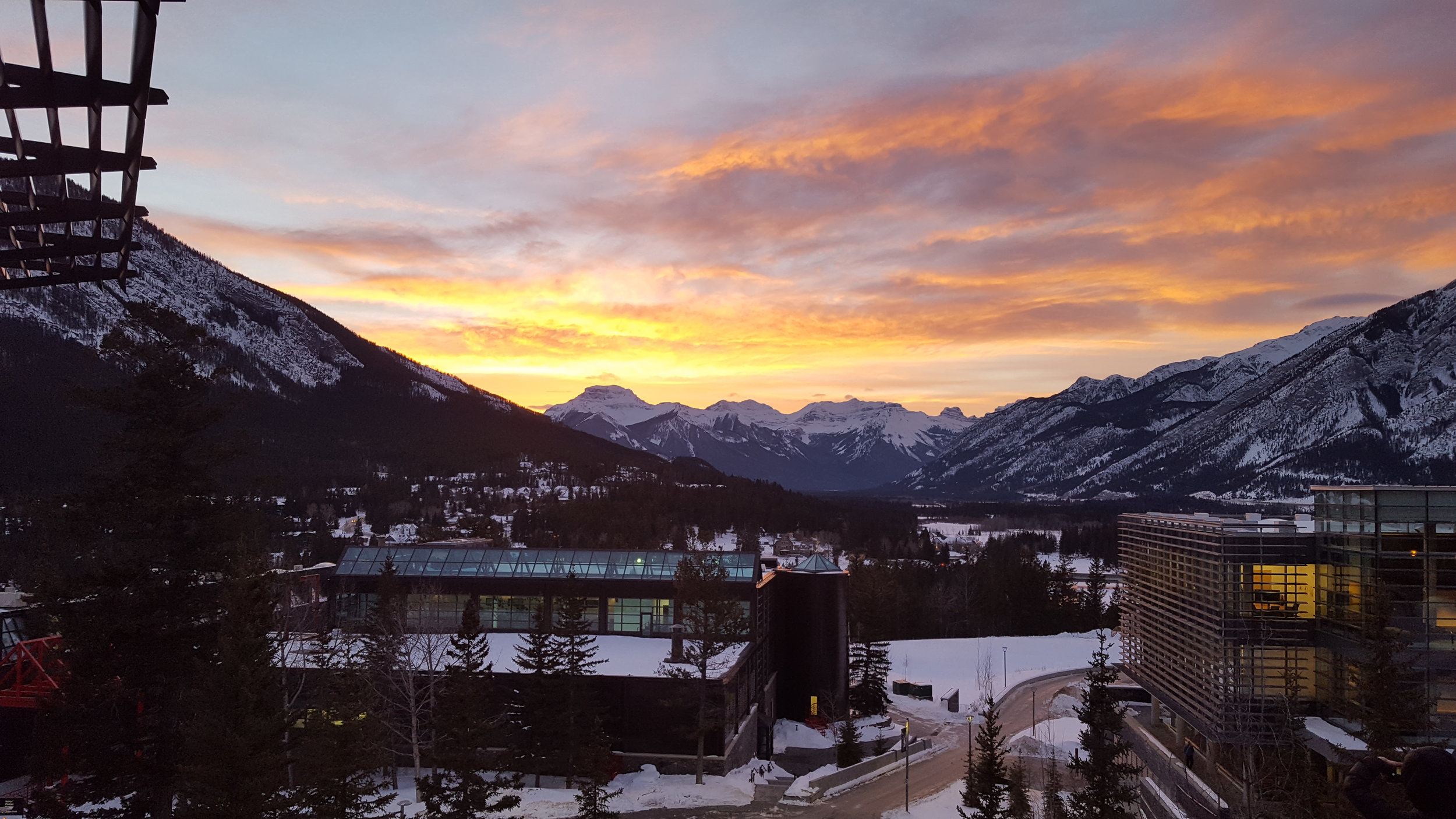 View from the dining hall at the Banff Centre. It is as if the mountains put on a different concert every night.