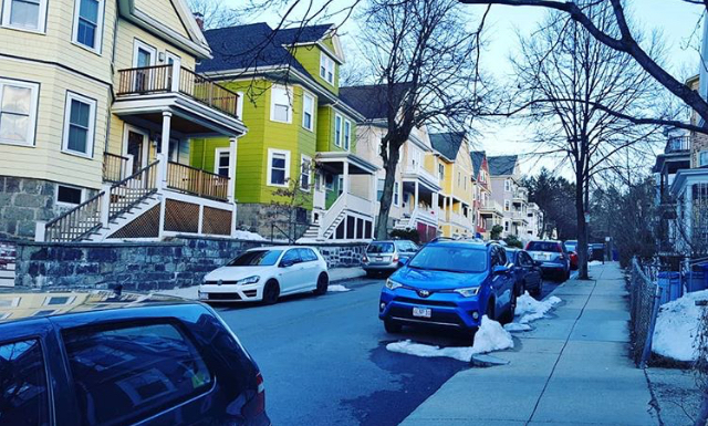 This was the street I stayed on in Jamaica Plains. It was spring time but there was still snow piled up everywhere! Many of the houses had wind chimes by their front door which made for a beautiful soundscape on the way to the train everyday.