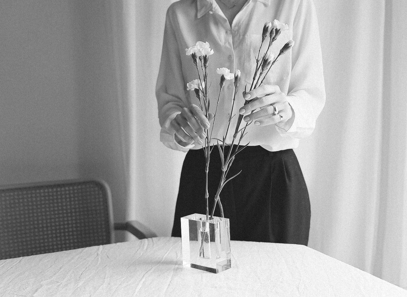 Decoration. When putting together a flower arrangement, consider the meaning of the florals you choose. For example, white carnations are said to represent luck and pure love.