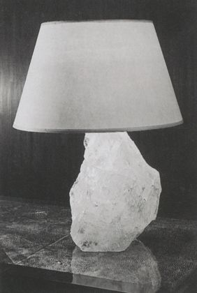 Table Lamp Mounted on a Quartz Base, Parchment Shade, ca. 1925, by Jean-Michel Frank