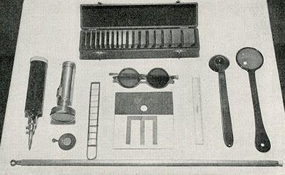 """Medical tools via """"Nursing in Diseases of the Nose, Eyes, Ears, Throat,"""" 1949"""