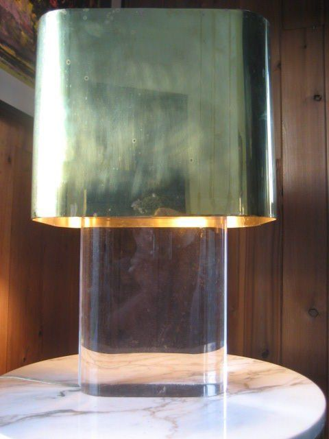 Lucite Lamp with Brass Shade by Karl Springer