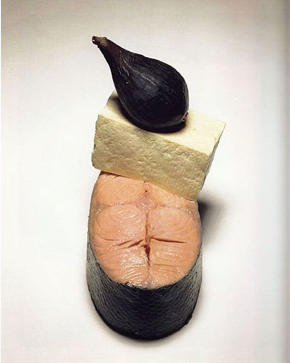 "HIMALAYAN SALT + MARZIPAN + CAROB = ""Salmon, Tofu, Fig"" by Irving Penn for Vogue, 1998"
