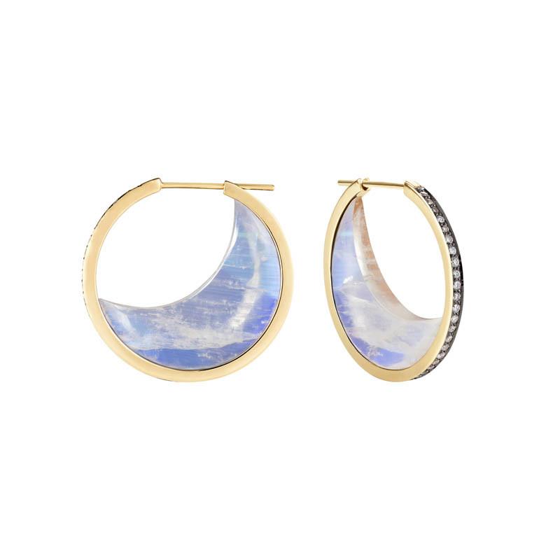 Rainbow Moonstone Chandra Crescent Earrings