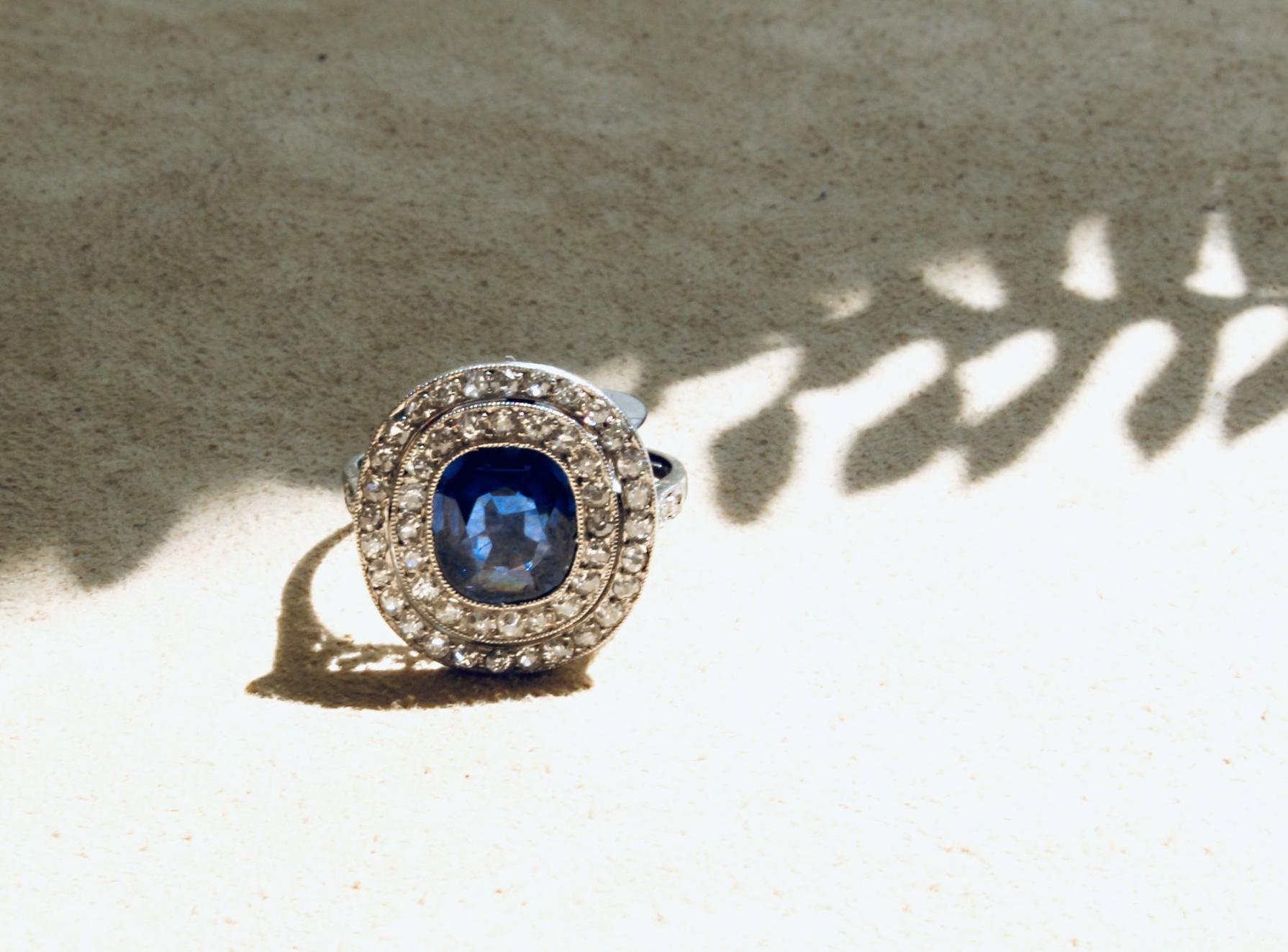 Sapphire and Diamond Edwardian Ring