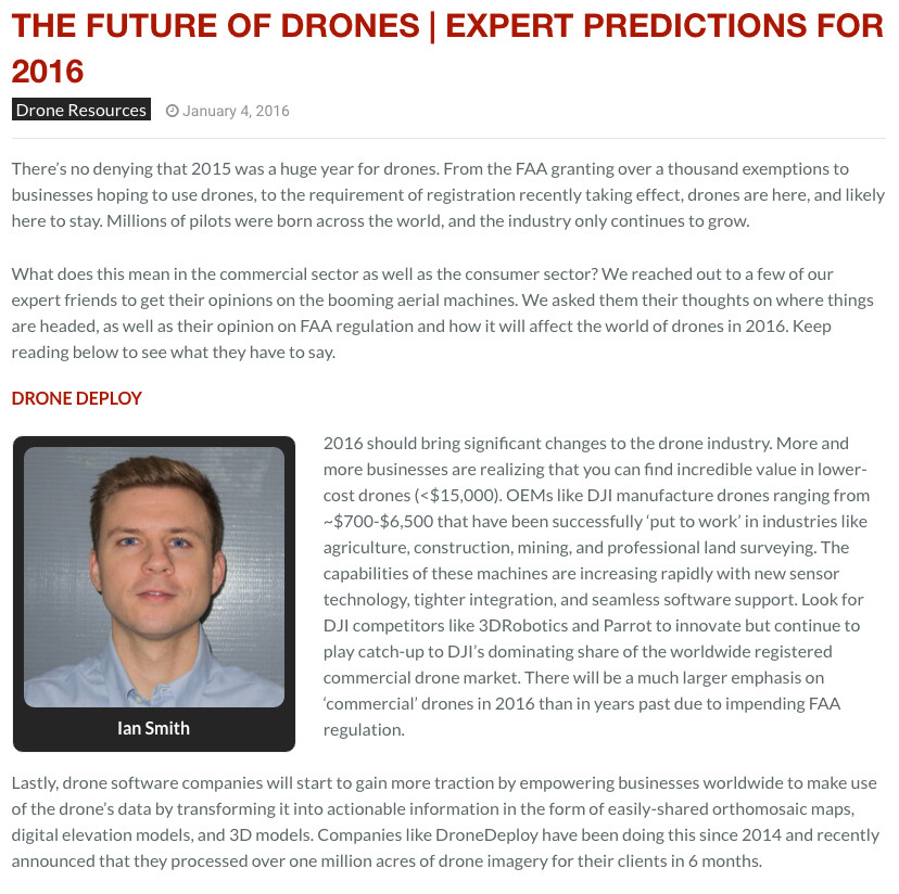 The Future of Commercial Drones | Expert Predictions for 2016 interview