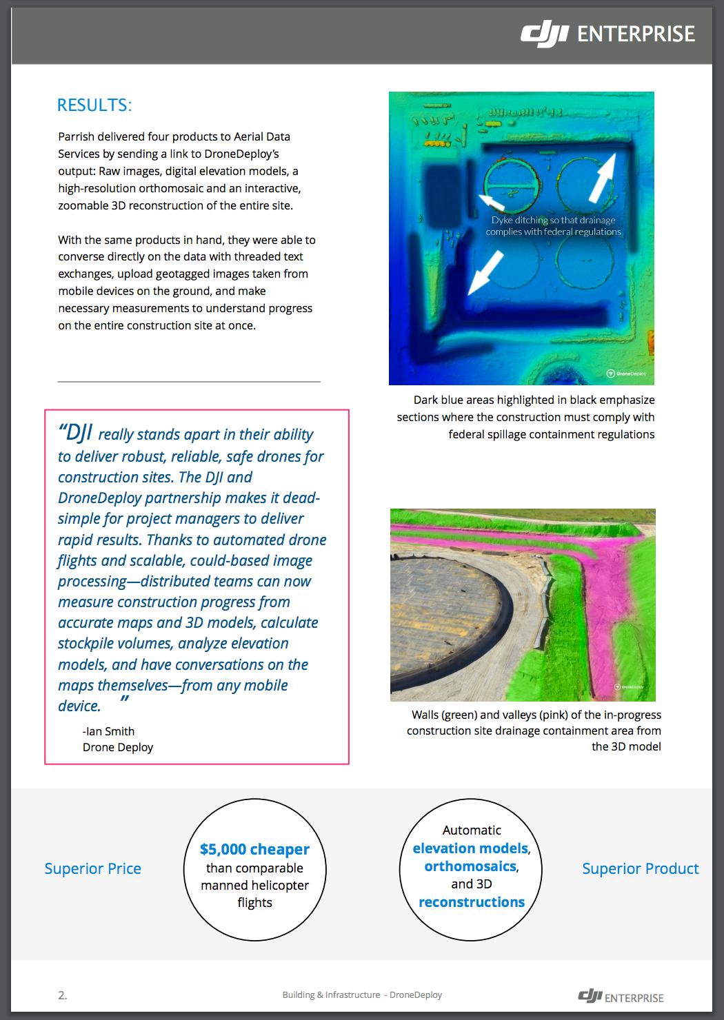 DJI's Enterprise website—drones in construction case study